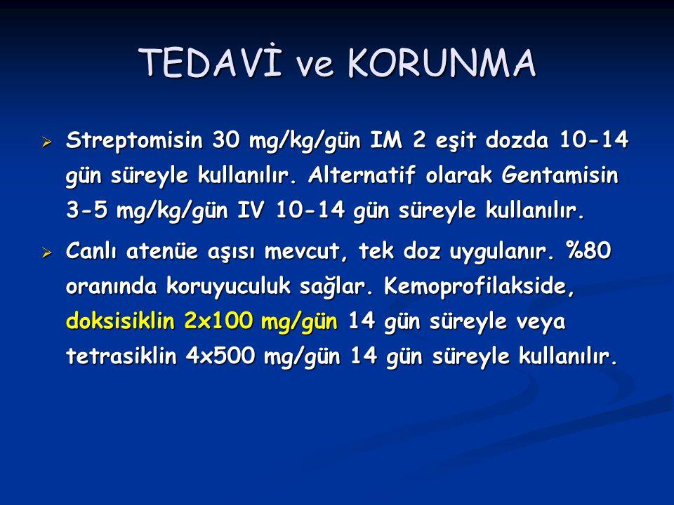 TEDAVİ ve KORUNMA  Streptomisin 30 mg/kg/gün IM 2 eşit dozda 10-14 gün süreyle kullanılır. Alternatif olarak Gentamisin 3-5 mg/kg/gün IV 10-14 gün sü