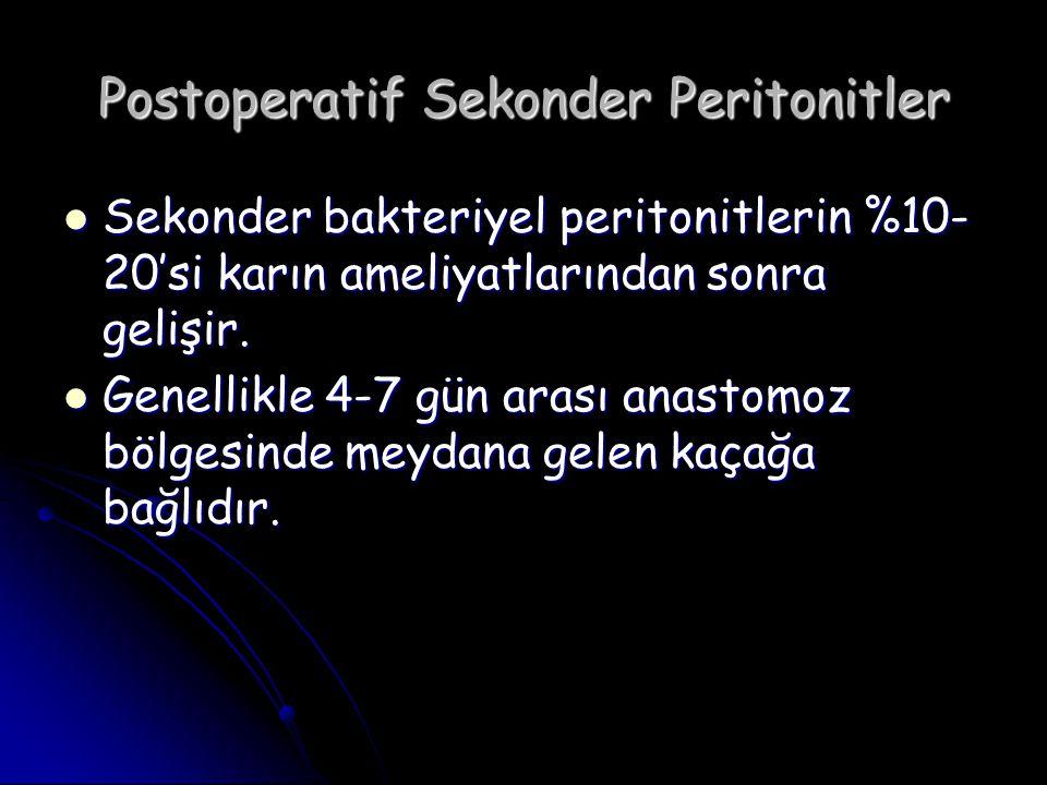 Postoperatif Sekonder Peritonitler Sekonder bakteriyel peritonitlerin %10- 20'si karın ameliyatlarından sonra gelişir. Sekonder bakteriyel peritonitle