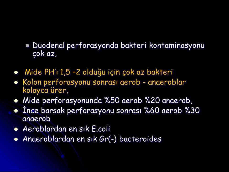 Duodenal perforasyonda bakteri kontaminasyonu çok az, Duodenal perforasyonda bakteri kontaminasyonu çok az, Mide PH'ı 1,5 –2 olduğu için çok az bakter