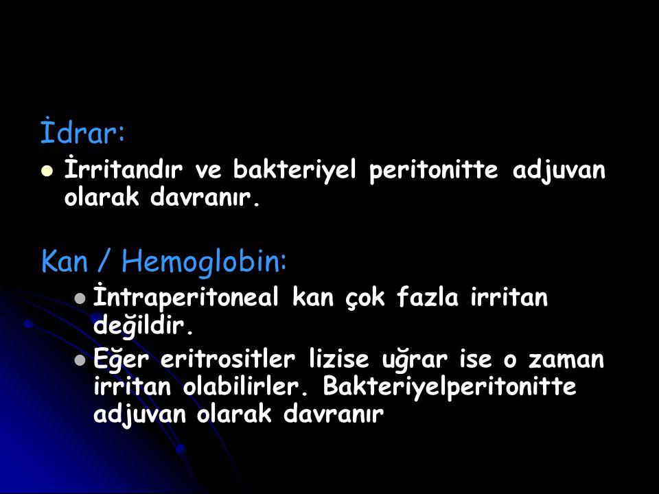 İdrar: İrritandır ve bakteriyel peritonitte adjuvan olarak davranır. Kan / Hemoglobin: İntraperitoneal kan çok fazla irritan değildir. Eğer eritrositl