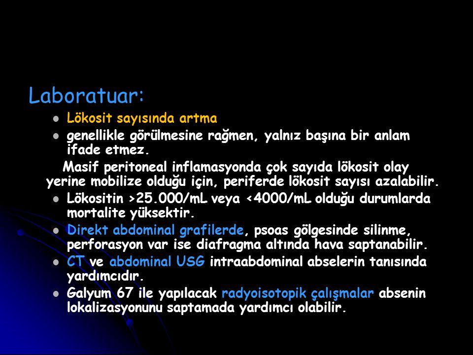Laboratuar: Lökosit sayısında artma genellikle görülmesine rağmen, yalnız başına bir anlam ifade etmez. Masif peritoneal inflamasyonda çok sayıda löko