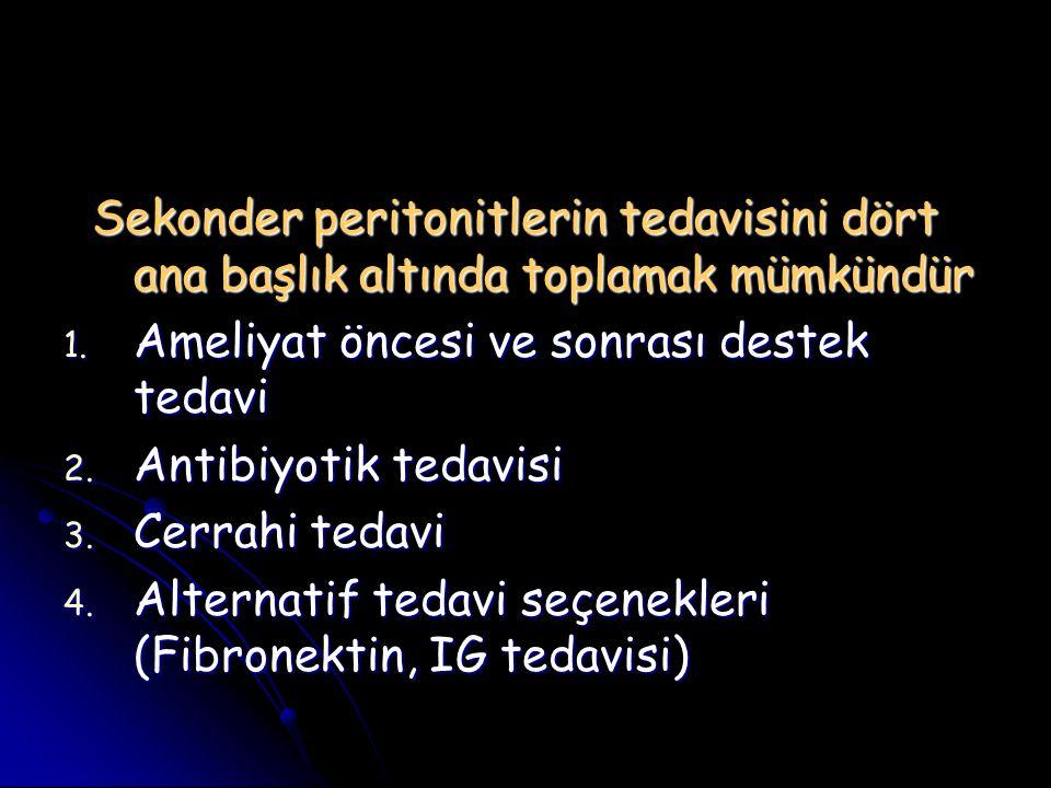 Sekonder peritonitlerin tedavisini dört ana başlık altında toplamak mümkündür Sekonder peritonitlerin tedavisini dört ana başlık altında toplamak mümk
