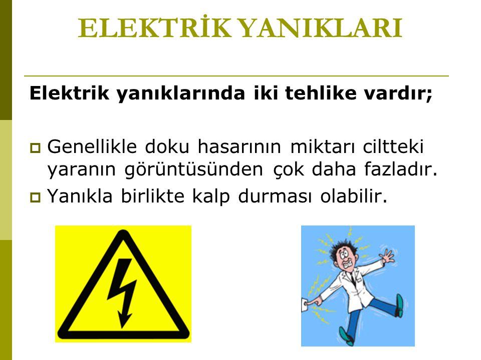 ELEKTRİK YANIKLARI Elektrik yanıklarında iki tehlike vardır;  Genellikle doku hasarının miktarı ciltteki yaranın görüntüsünden çok daha fazladır.