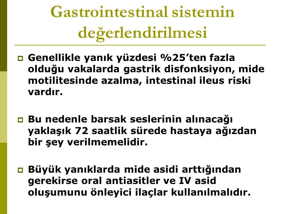 Gastrointestinal sistemin değerlendirilmesi  Genellikle yanık yüzdesi %25'ten fazla olduğu vakalarda gastrik disfonksiyon, mide motilitesinde azalma, intestinal ileus riski vardır.