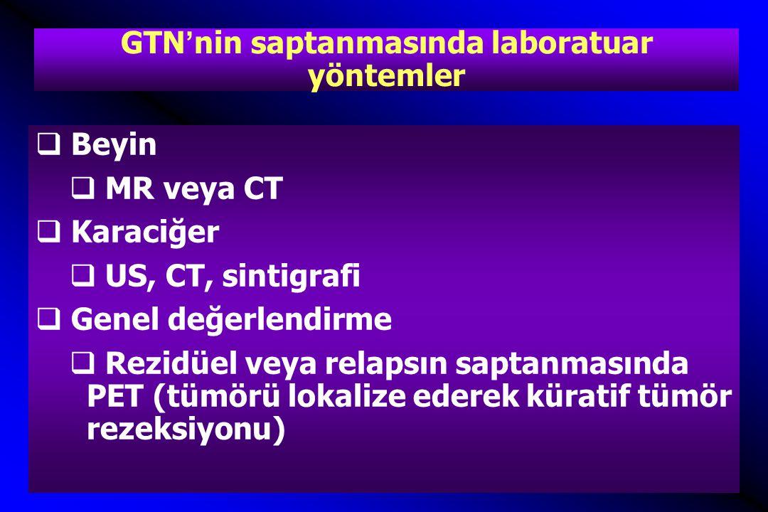 GTN'nin saptanmasında laboratuar yöntemler  Beyin  MR veya CT  Karaciğer  US, CT, sintigrafi  Genel değerlendirme  Rezidüel veya relapsın saptanmasında PET (tümörü lokalize ederek küratif tümör rezeksiyonu)