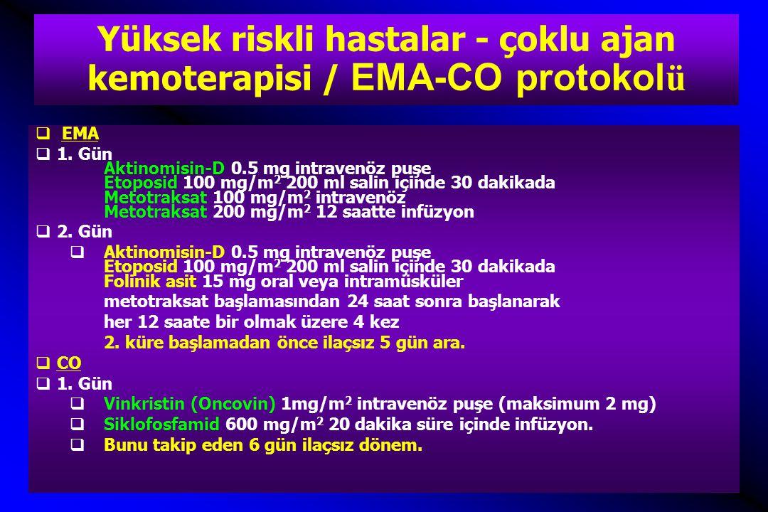  EMA  1. Gün Aktinomisin-D 0.5 mg intravenöz puşe Etoposid 100 mg/m 2 200 ml salin içinde 30 dakikada Metotraksat 100 mg/m 2 intravenöz Metotraksat