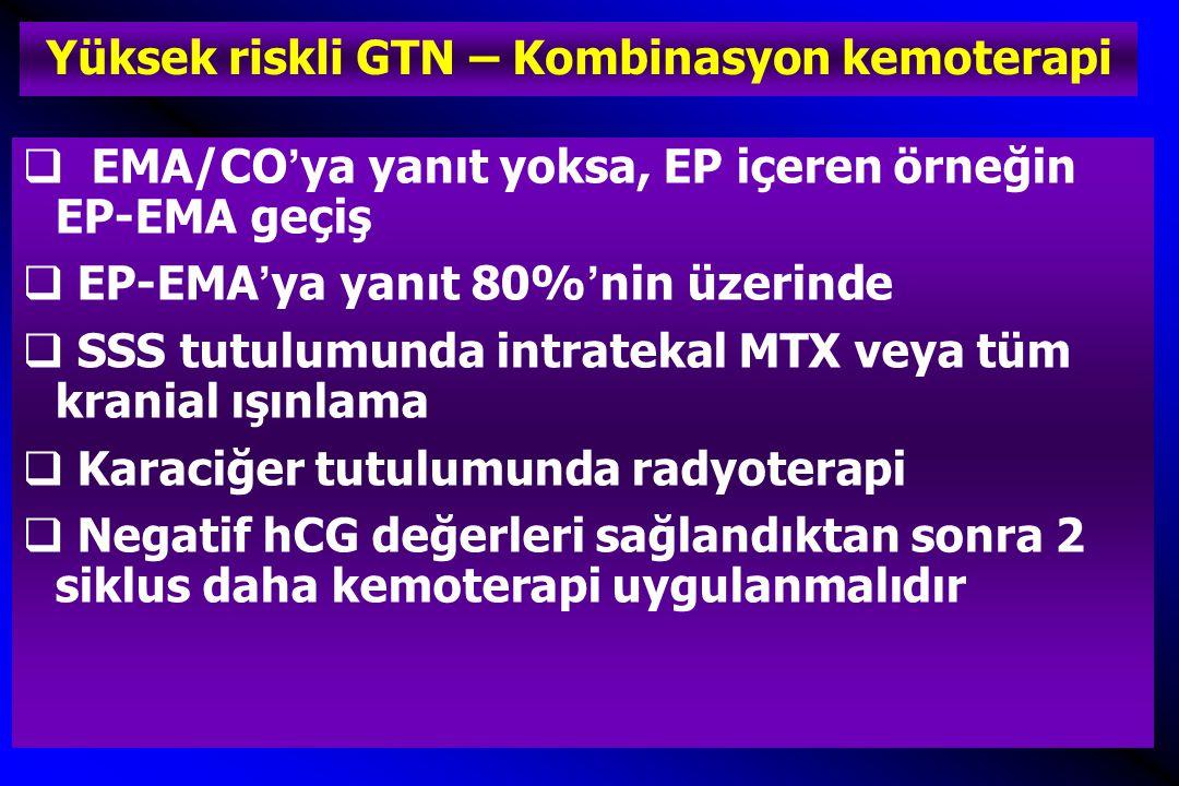Yüksek riskli GTN – Kombinasyon kemoterapi  EMA/CO'ya yanıt yoksa, EP içeren örneğin EP-EMA geçiş  EP-EMA'ya yanıt 80%'nin üzerinde  SSS tutulumunda intratekal MTX veya tüm kranial ışınlama  Karaciğer tutulumunda radyoterapi  Negatif hCG değerleri sağlandıktan sonra 2 siklus daha kemoterapi uygulanmalıdır