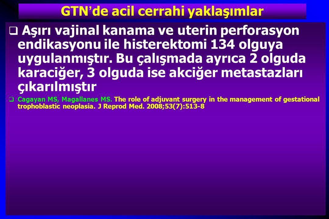 GTN'de acil cerrahi yaklaşımlar  Aşırı vajinal kanama ve uterin perforasyon endikasyonu ile histerektomi 134 olguya uygulanmıştır. Bu çalışmada ayrıc