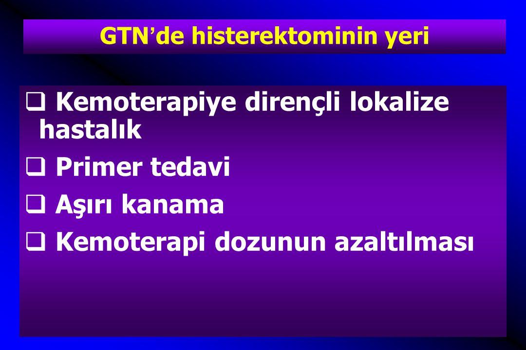 GTN'de histerektominin yeri  Kemoterapiye dirençli lokalize hastalık  Primer tedavi  Aşırı kanama  Kemoterapi dozunun azaltılması