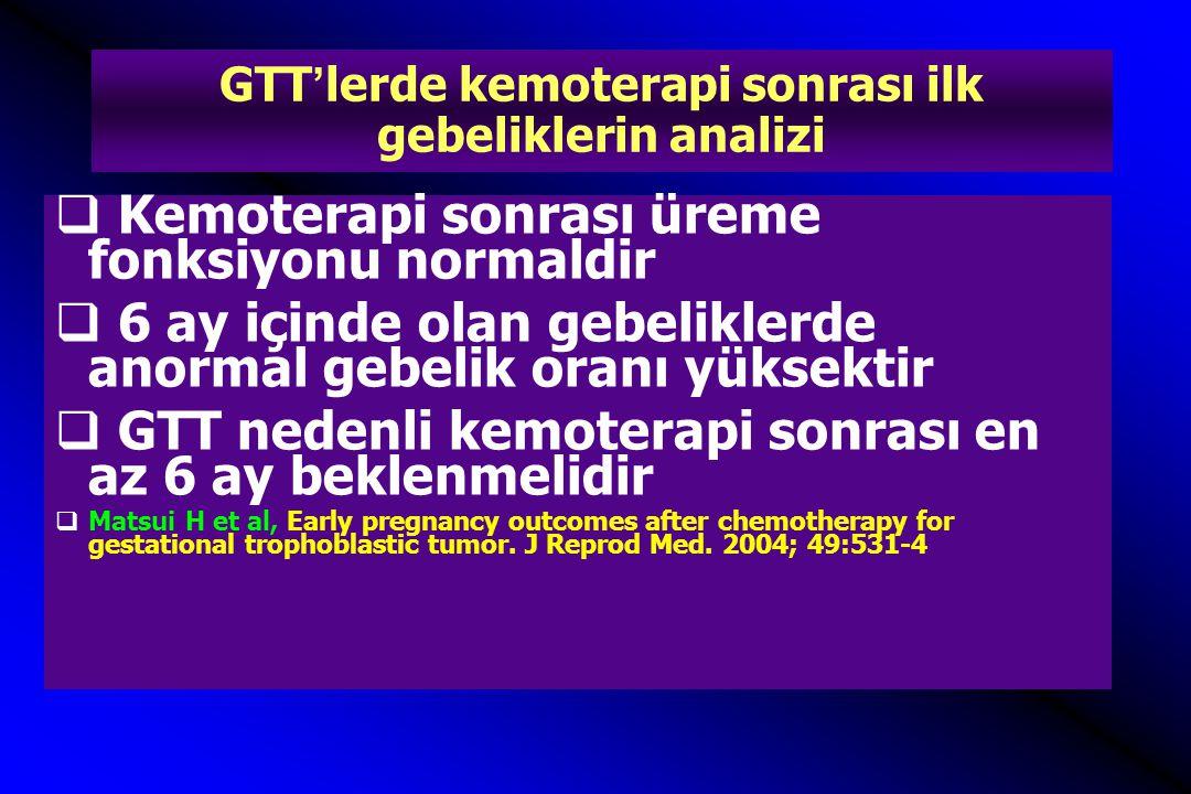 GTT'lerde kemoterapi sonrası ilk gebeliklerin analizi  Kemoterapi sonrası üreme fonksiyonu normaldir  6 ay içinde olan gebeliklerde anormal gebelik
