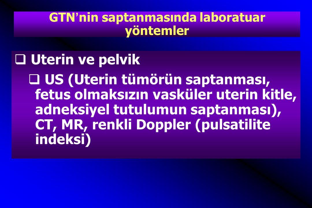 GTN'nin saptanmasında laboratuar yöntemler  Uterin ve pelvik  US (Uterin tümörün saptanması, fetus olmaksızın vasküler uterin kitle, adneksiyel tutulumun saptanması), CT, MR, renkli Doppler (pulsatilite indeksi)