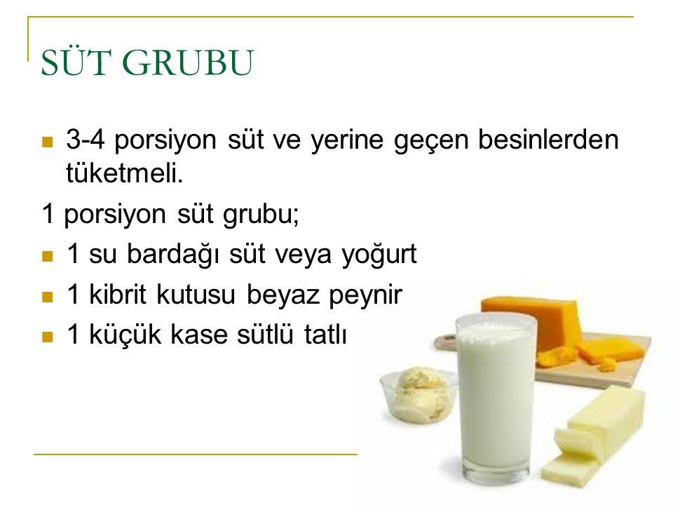 SÜT GRUBU 3-4 porsiyon süt ve yerine geçen besinlerden tüketmeli. 1 porsiyon süt grubu; 1 su bardağı süt veya yoğurt 1 kibrit kutusu beyaz peynir 1 kü