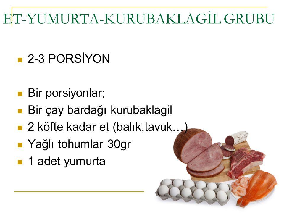 ET-YUMURTA-KURUBAKLAGİL GRUBU 2-3 PORSİYON Bir porsiyonlar; Bir çay bardağı kurubaklagil 2 köfte kadar et (balık,tavuk…) Yağlı tohumlar 30gr 1 adet yu