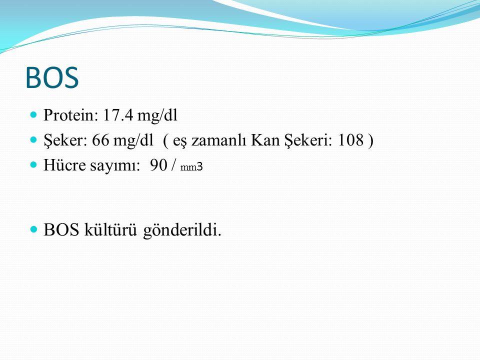 BOS Protein: 17.4 mg/dl Şeker: 66 mg/dl ( eş zamanlı Kan Şekeri: 108 ) Hücre sayımı: 90 / mm 3 BOS kültürü gönderildi.