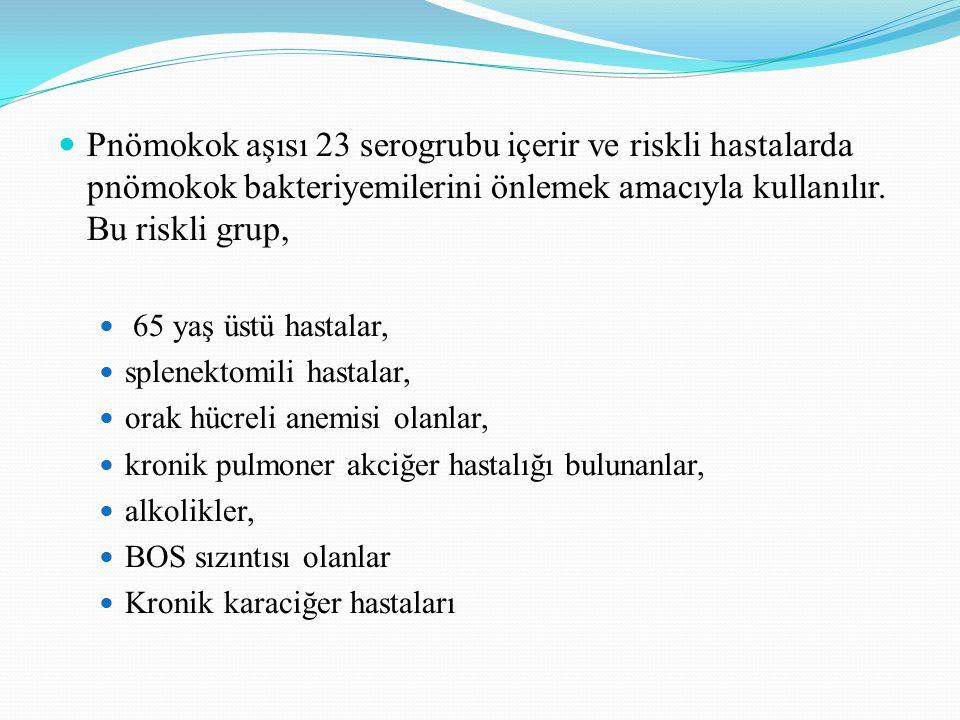 Pnömokok aşısı 23 serogrubu içerir ve riskli hastalarda pnömokok bakteriyemilerini önlemek amacıyla kullanılır. Bu riskli grup, 65 yaş üstü hastalar,