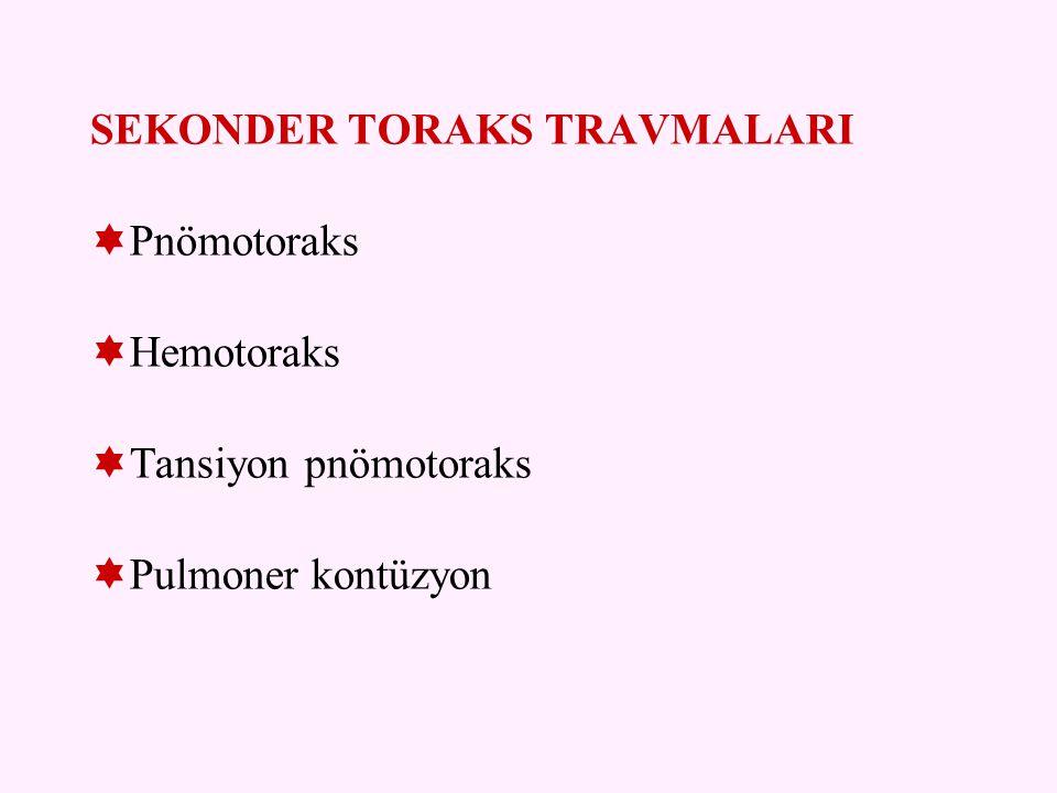 PRİMER TORAKS TRAVMALARI  Kosta kırıkları  Sternum kırığı  Akciğer parankim lezyonları  Trakea ve ana bronş yaralanmaları  Özofagus yaralanması  Diyafram yaralanması  Kalp ve büyük damar yaralanmaları