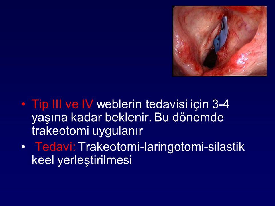 Tip III ve IV weblerin tedavisi için 3-4 yaşına kadar beklenir. Bu dönemde trakeotomi uygulanır Tedavi: Trakeotomi-laringotomi-silastik keel yerleştir