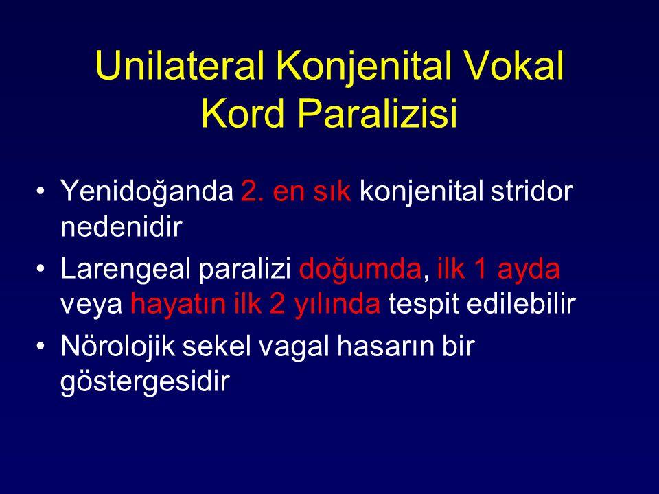 Unilateral Konjenital Vokal Kord Paralizisi Yenidoğanda 2. en sık konjenital stridor nedenidir Larengeal paralizi doğumda, ilk 1 ayda veya hayatın ilk