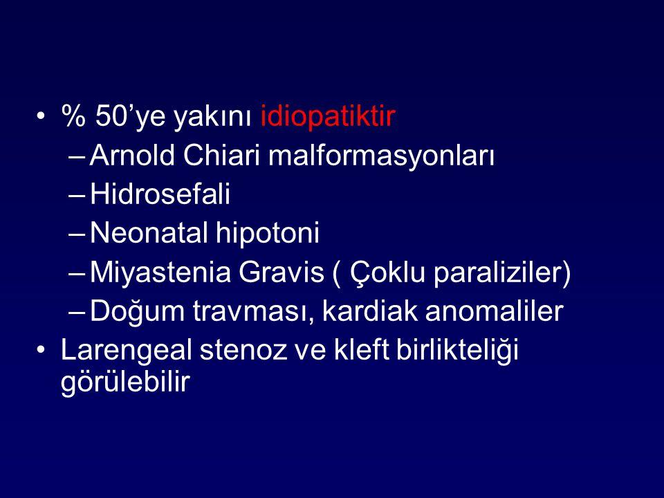 % 50'ye yakını idiopatiktir –Arnold Chiari malformasyonları –Hidrosefali –Neonatal hipotoni –Miyastenia Gravis ( Çoklu paraliziler) –Doğum travması, k