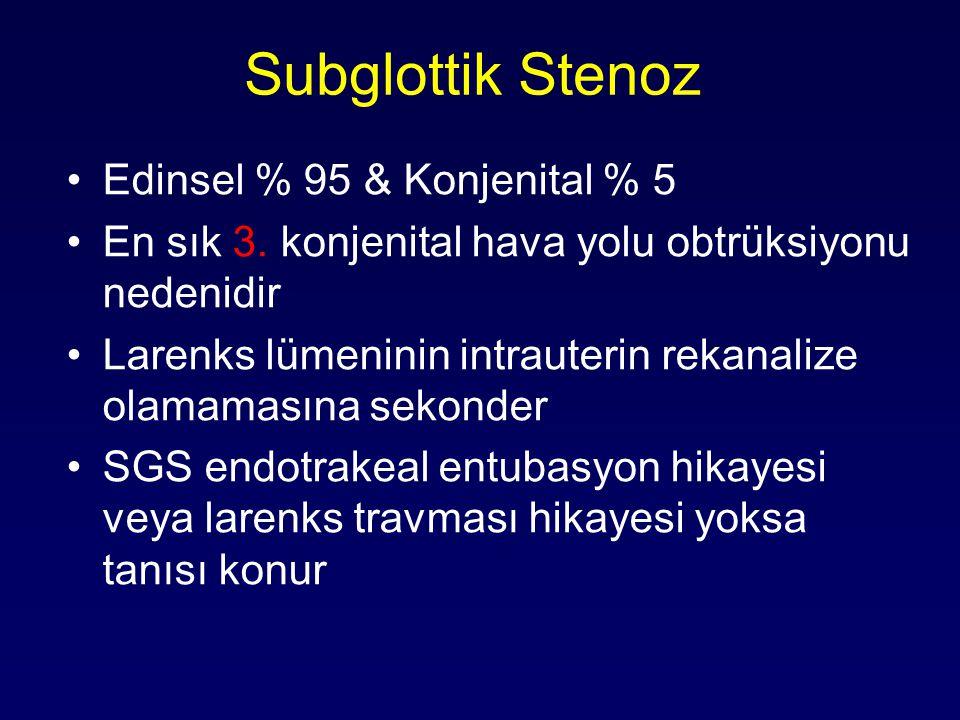 Subglottik Stenoz Edinsel % 95 & Konjenital % 5 En sık 3. konjenital hava yolu obtrüksiyonu nedenidir Larenks lümeninin intrauterin rekanalize olamama