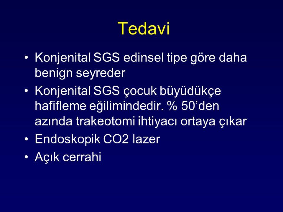 Tedavi Konjenital SGS edinsel tipe göre daha benign seyreder Konjenital SGS çocuk büyüdükçe hafifleme eğilimindedir. % 50'den azında trakeotomi ihtiya