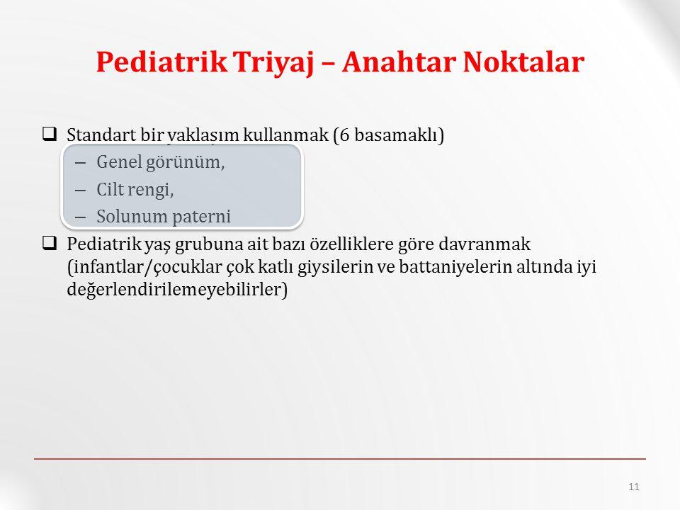 Pediatrik Triyaj – Anahtar Noktalar  Standart bir yaklaşım kullanmak (6 basamaklı) – Genel görünüm, – Cilt rengi, – Solunum paterni  Pediatrik yaş g