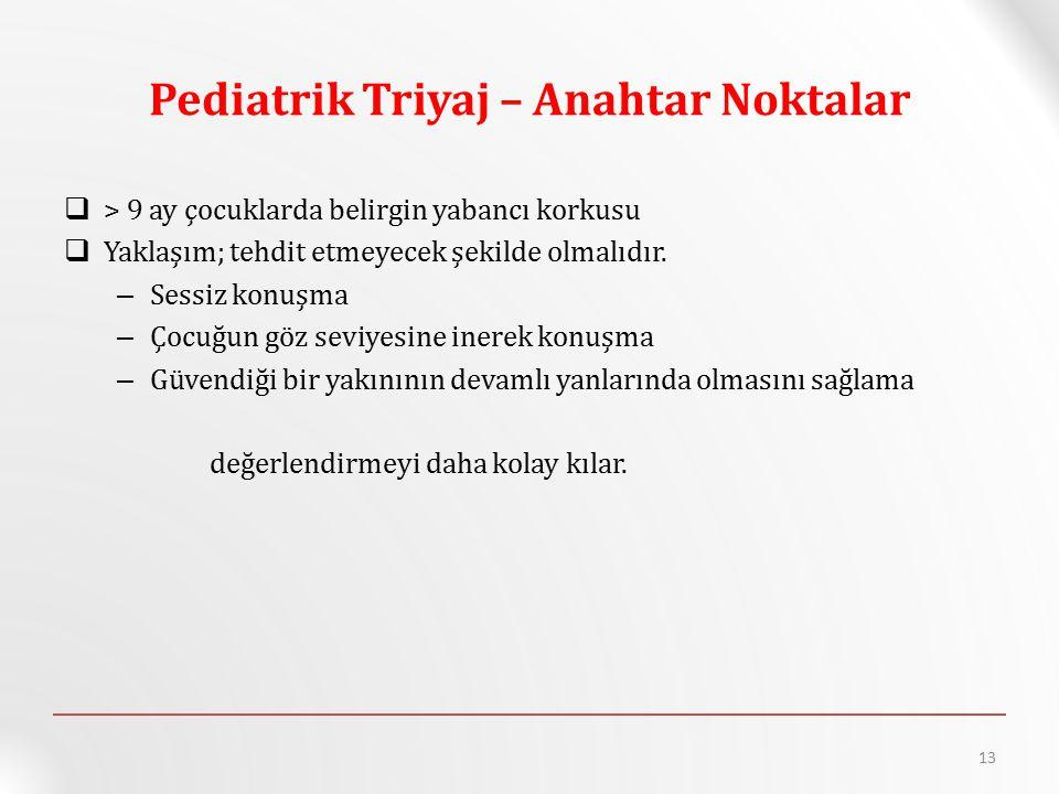Pediatrik Triyaj – Anahtar Noktalar  > 9 ay çocuklarda belirgin yabancı korkusu  Yaklaşım; tehdit etmeyecek şekilde olmalıdır. – Sessiz konuşma – Ço