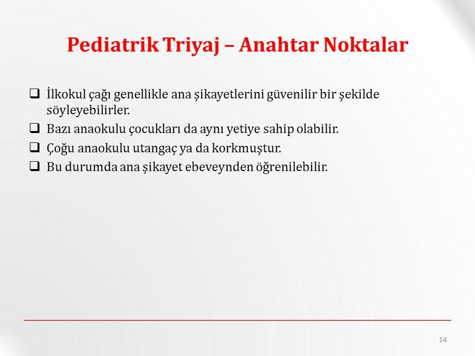Pediatrik Triyaj – Anahtar Noktalar  İlkokul çağı genellikle ana şikayetlerini güvenilir bir şekilde söyleyebilirler.