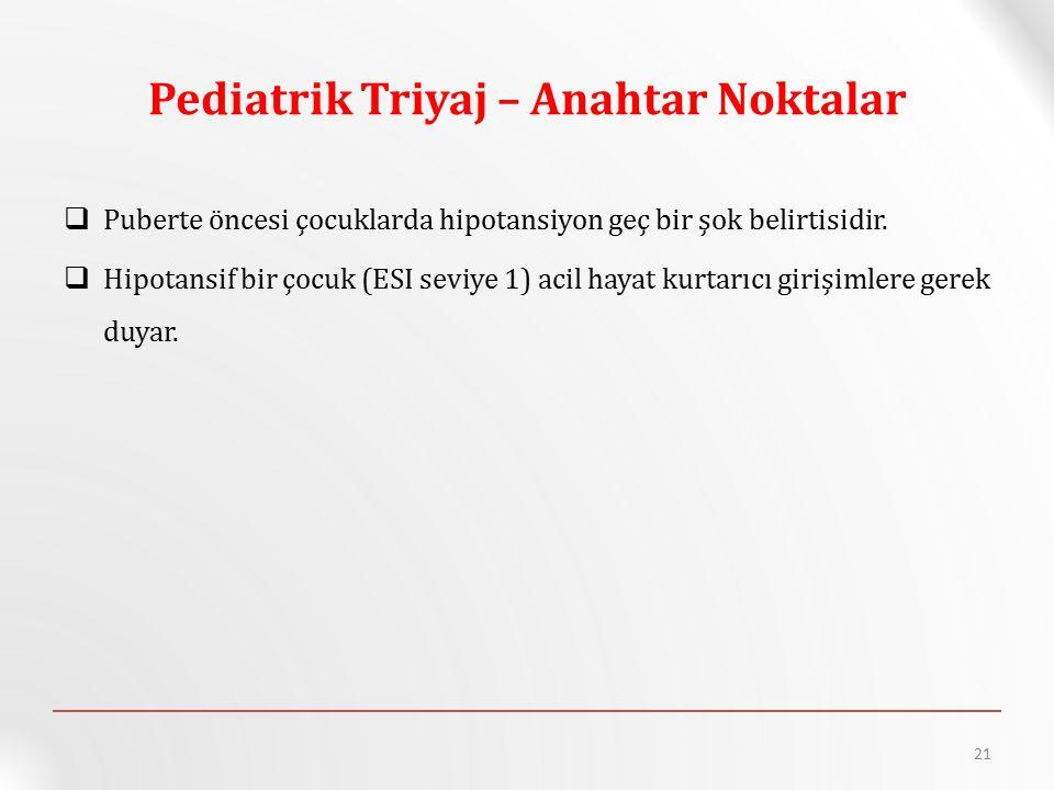 Pediatrik Triyaj – Anahtar Noktalar  Puberte öncesi çocuklarda hipotansiyon geç bir şok belirtisidir.