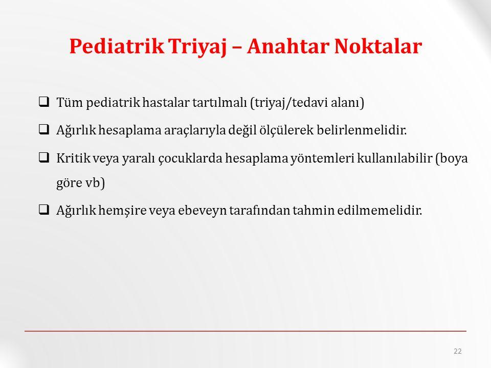 Pediatrik Triyaj – Anahtar Noktalar  Tüm pediatrik hastalar tartılmalı (triyaj/tedavi alanı)  Ağırlık hesaplama araçlarıyla değil ölçülerek belirlenmelidir.