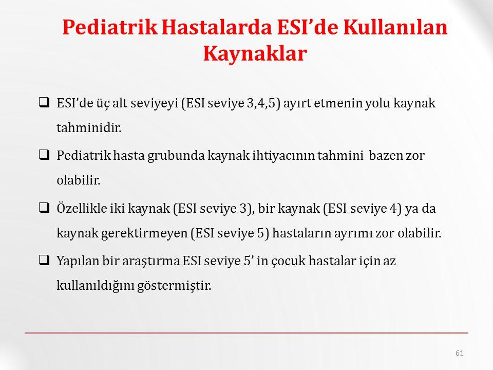 Pediatrik Hastalarda ESI'de Kullanılan Kaynaklar  ESI'de üç alt seviyeyi (ESI seviye 3,4,5) ayırt etmenin yolu kaynak tahminidir.  Pediatrik hasta g