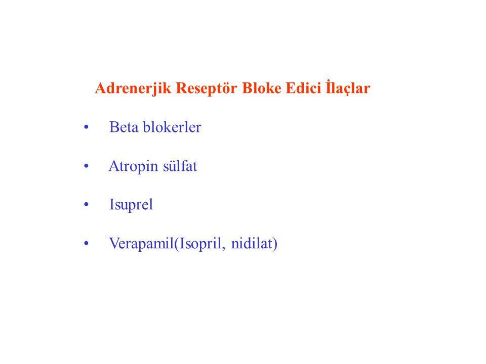 Adrenerjik Reseptör Bloke Edici İlaçlar Beta blokerler Atropin sülfat Isuprel Verapamil(Isopril, nidilat)
