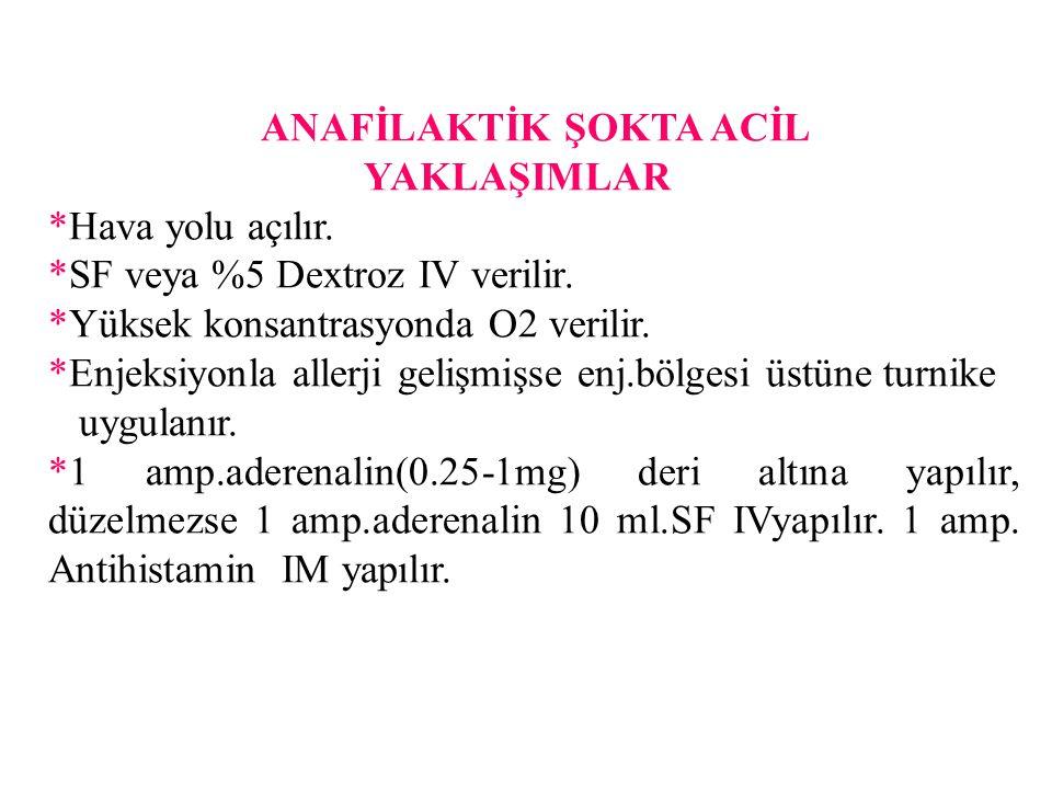 ANAFİLAKTİK ŞOKTA ACİL YAKLAŞIMLAR *Hava yolu açılır. *SF veya %5 Dextroz IV verilir. *Yüksek konsantrasyonda O2 verilir. *Enjeksiyonla allerji gelişm