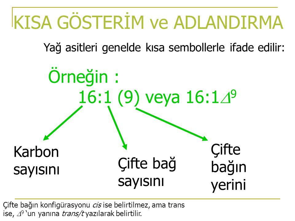 KISA GÖSTERİM ve ADLANDIRMA Örneğin : 16:1 (9) veya 16:1  9 Yağ asitleri genelde kısa sembollerle ifade edilir: Karbon sayısını Çifte bağ sayısını Çifte bağın yerini Çifte bağın konfigürasyonu cis ise belirtilmez, ama trans ise,  9 'un yanına trans/t yazılarak belirtilir.