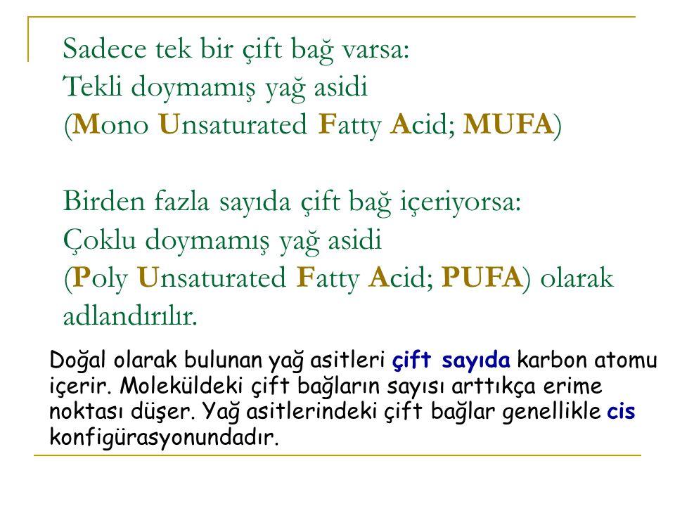 Sadece tek bir çift bağ varsa: Tekli doymamış yağ asidi (Mono Unsaturated Fatty Acid; MUFA) Birden fazla sayıda çift bağ içeriyorsa: Çoklu doymamış yağ asidi (Poly Unsaturated Fatty Acid; PUFA) olarak adlandırılır.