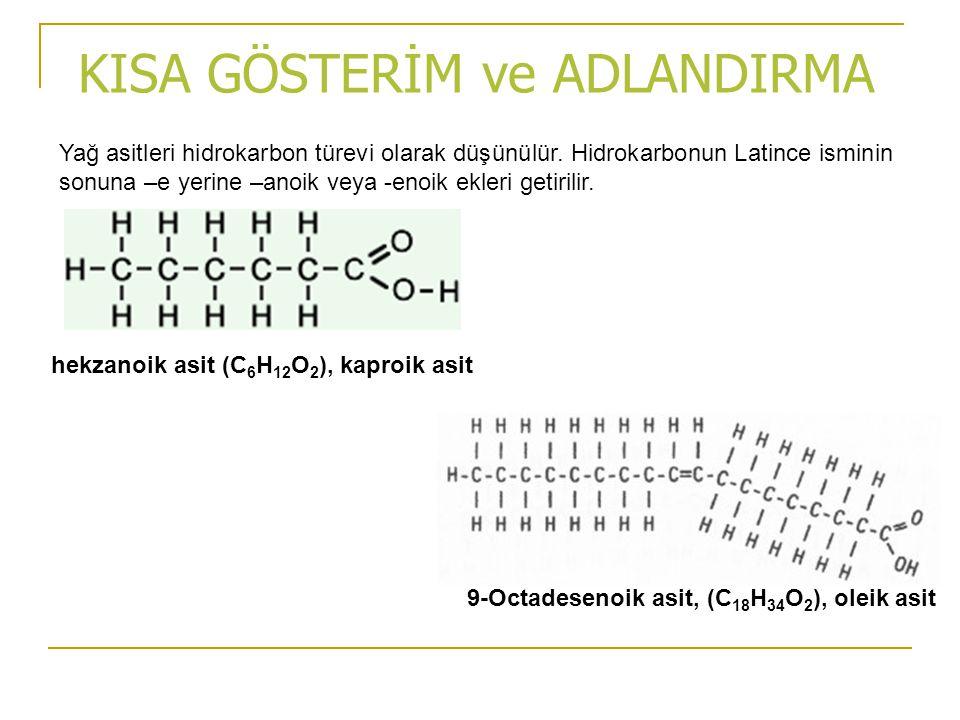 KISA GÖSTERİM ve ADLANDIRMA Yağ asitleri hidrokarbon türevi olarak düşünülür. Hidrokarbonun Latince isminin sonuna –e yerine –anoik veya -enoik ekleri