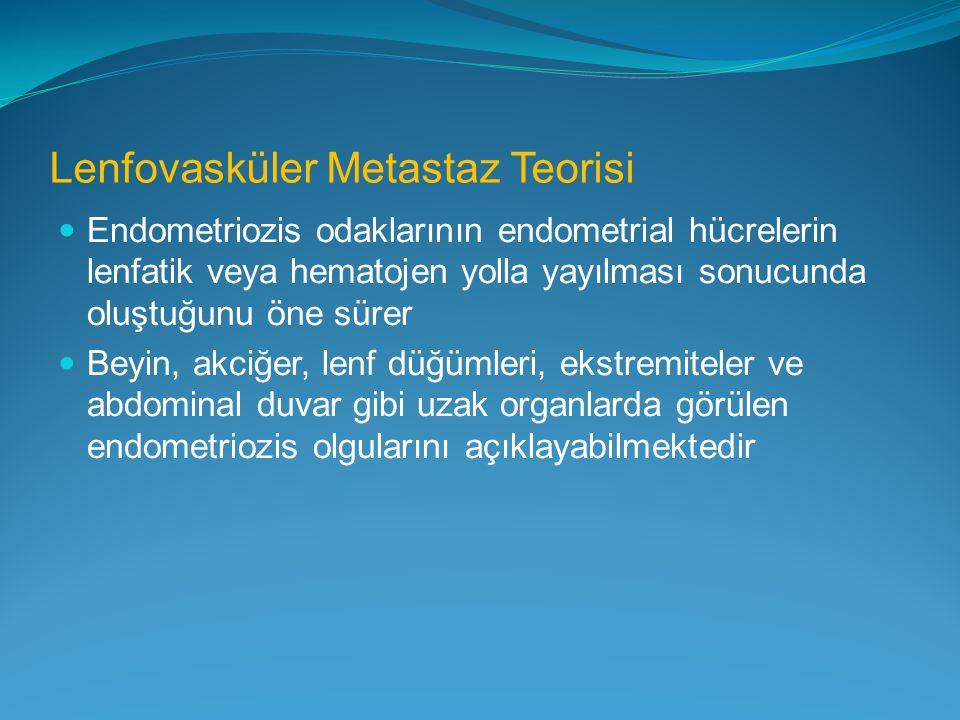 Lenfovasküler Metastaz Teorisi Endometriozis odaklarının endometrial hücrelerin lenfatik veya hematojen yolla yayılması sonucunda oluştuğunu öne sürer