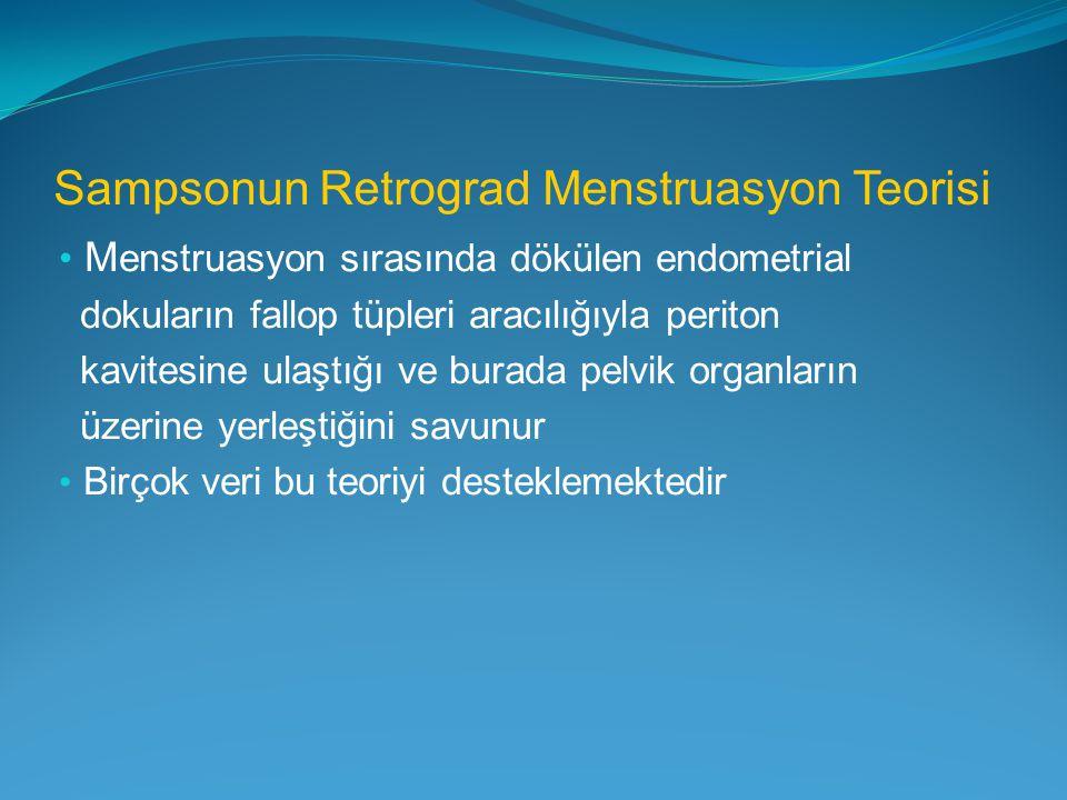 Sampsonun Retrograd Menstruasyon Teorisi M enstruasyon sırasında dökülen endometrial dokuların fallop tüpleri aracılığıyla periton kavitesine ulaştığı