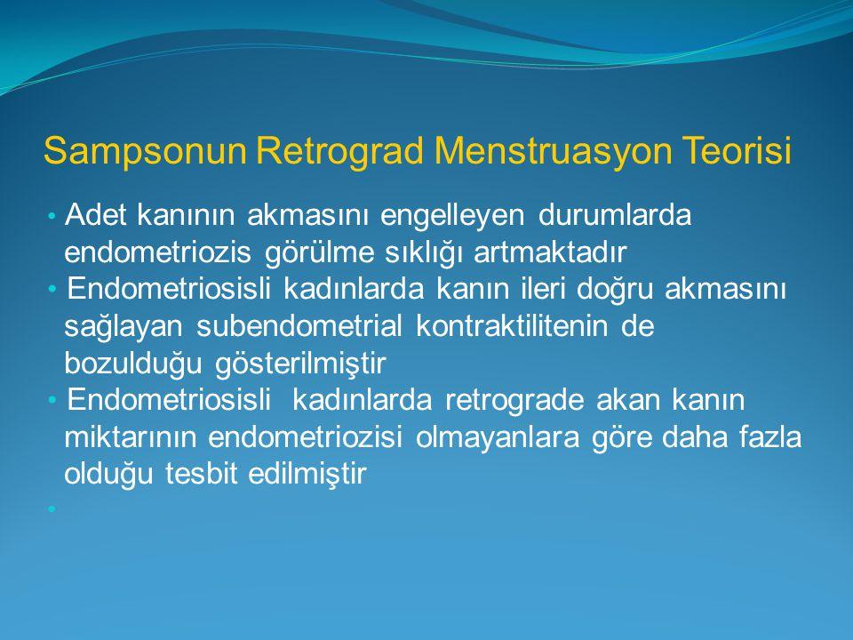 Sampsonun Retrograd Menstruasyon Teorisi Adet kanının akmasını engelleyen durumlarda endometriozis görülme sıklığı artmaktadır Endometriosisli kadınla
