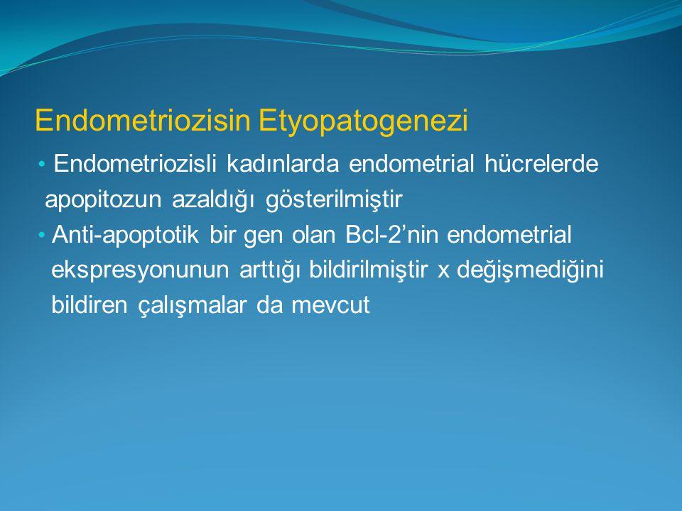 Endometriozisin Etyopatogenezi Endometriozisli kadınlarda endometrial hücrelerde apopitozun azaldığı gösterilmiştir Anti-apoptotik bir gen olan Bcl-2'