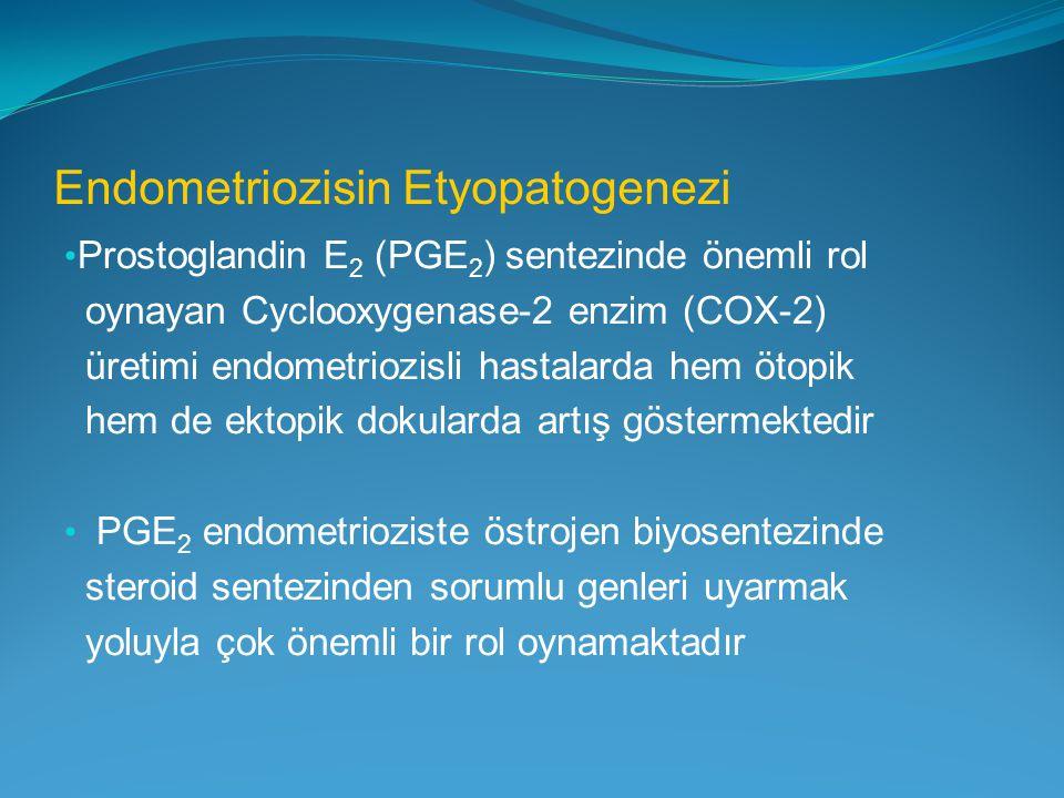 Endometriozisin Etyopatogenezi Prostoglandin E 2 (PGE 2 ) sentezinde önemli rol oynayan Cyclooxygenase-2 enzim (COX-2) üretimi endometriozisli hastala