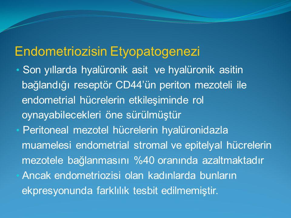 Endometriozisin Etyopatogenezi Son yıllarda hyalüronik asit ve hyalüronik asitin bağlandığı reseptör CD44'ün periton mezoteli ile endometrial hücreler