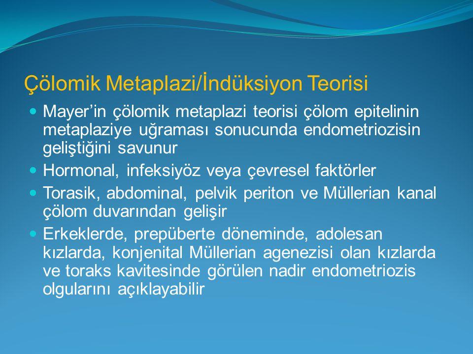 Çölomik Metaplazi/İndüksiyon Teorisi Mayer'in çölomik metaplazi teorisi çölom epitelinin metaplaziye uğraması sonucunda endometriozisin geliştiğini sa