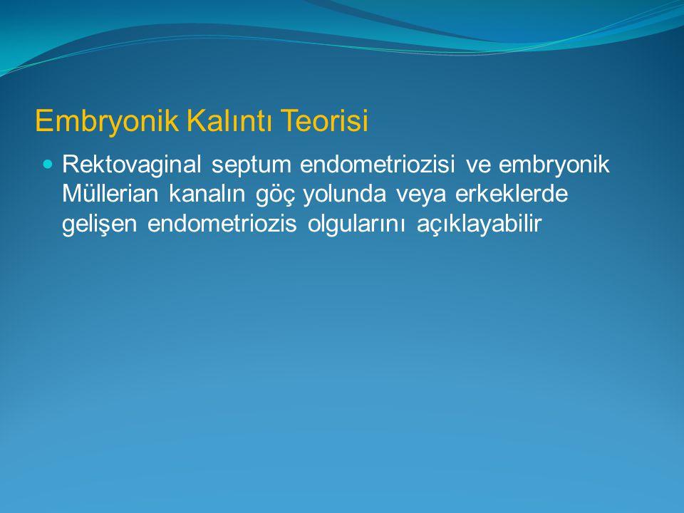 Embryonik Kalıntı Teorisi Rektovaginal septum endometriozisi ve embryonik Müllerian kanalın göç yolunda veya erkeklerde gelişen endometriozis olguları