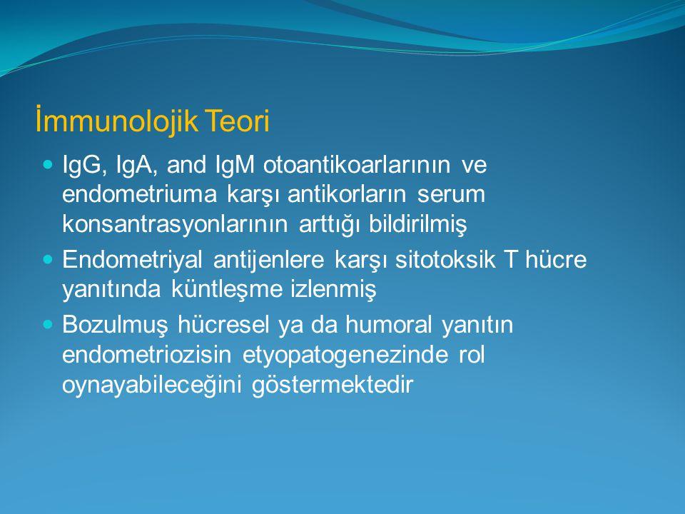 İmmunolojik Teori IgG, IgA, and IgM otoantikoarlarının ve endometriuma karşı antikorların serum konsantrasyonlarının arttığı bildirilmiş Endometriyal