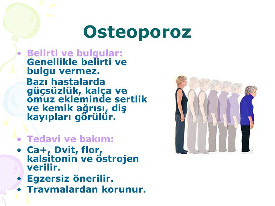 Osteoporoz Belirti ve bulgular: Genellikle belirti ve bulgu vermez. Bazı hastalarda güçsüzlük, kalça ve omuz ekleminde sertlik ve kemik ağrısı, diş ka