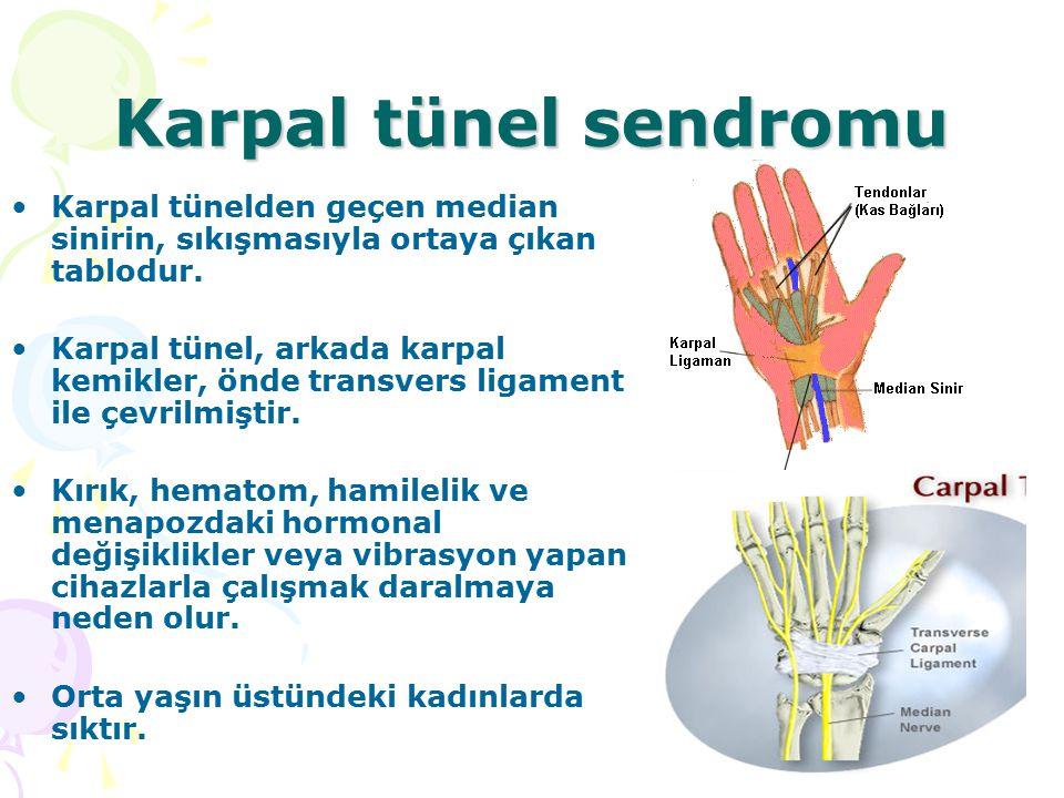 Karpal tünel sendromu Karpal tünelden geçen median sinirin, sıkışmasıyla ortaya çıkan tablodur. Karpal tünel, arkada karpal kemikler, önde transvers l