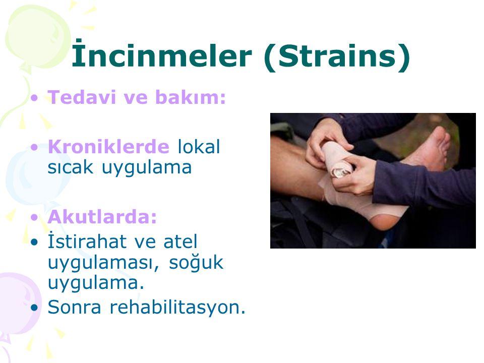 İncinmeler (Strains) Tedavi ve bakım: Kroniklerde lokal sıcak uygulama Akutlarda: İstirahat ve atel uygulaması, soğuk uygulama. Sonra rehabilitasyon.