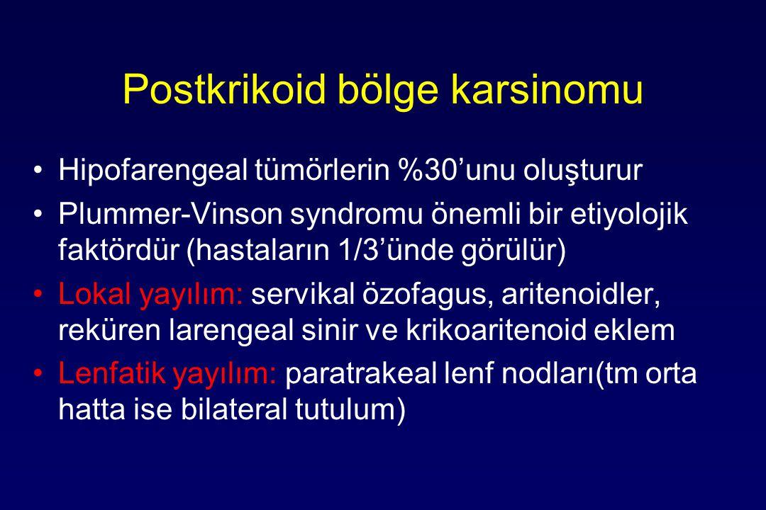 Postkrikoid bölge karsinomu Hipofarengeal tümörlerin %30'unu oluşturur Plummer-Vinson syndromu önemli bir etiyolojik faktördür (hastaların 1/3'ünde görülür) Lokal yayılım: servikal özofagus, aritenoidler, reküren larengeal sinir ve krikoaritenoid eklem Lenfatik yayılım: paratrakeal lenf nodları(tm orta hatta ise bilateral tutulum)