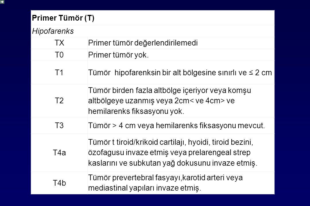 Primer Tümör (T) Hipofarenks TXPrimer tümör değerlendirilemedi T0Primer tümör yok.